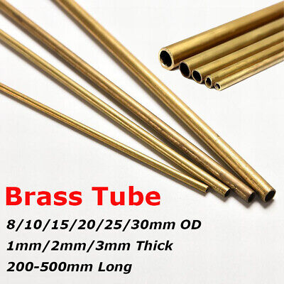 8/10/15/20/25/30mm OD Round Brass Tube Pipe Rod 1/2/3mm Wall 200mm-500mm Long