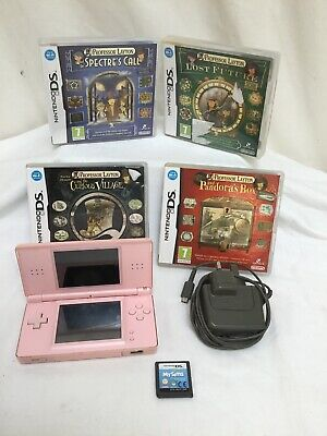 Nintendo DS Lite Pink Handheld System with 5 Games VGC