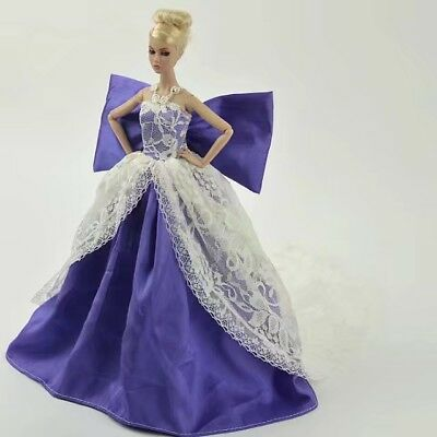 GOOD Sell Gift-Popular Barbie Doll sized Cloth@@A Fashion Purple Gown&1 Nice HAT