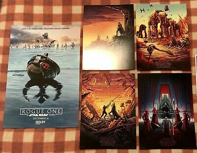 """RARE AMC Excl. Star Wars Rogue One DOLBY 11x17"""" Mini Poster + Last Jedi IMAX Lot"""