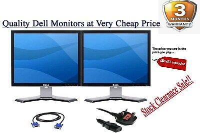 "Cheap Dell 2 X 19"" LCD DUAL SRCEEN LCD MONITOR MATCHING SCREEN COMPUTER PC TFT"