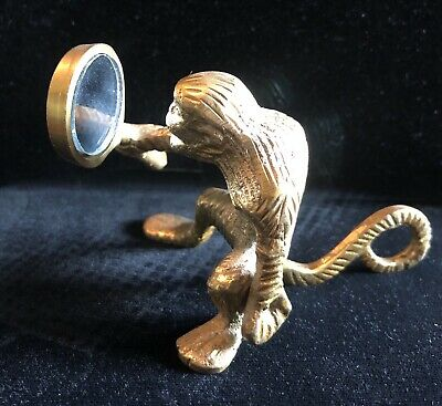 Vintage Antique Laughing Brass Monkey Holding Mirror Figurine Collectible Figure