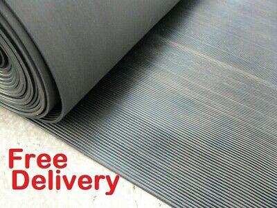 Ribbed Rubber Matting 1m Wide x 3mm Thick Anti Slip for Garages Kennels Vans