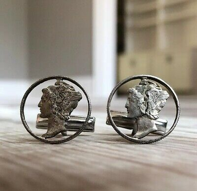 VTG Mercury DIME Mens Cufflinks Extremely Fine Condition Early 1900s Cutout RARE