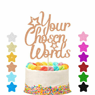 Personalised Glitter Cake Topper Any Word Customised Name Custom Birthday Decor