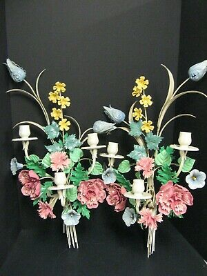 Pair Vintage Italian Tole Morning Glory Flower Wall Sconce Candleholder's