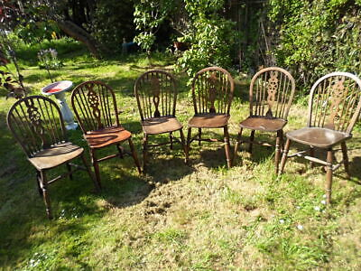 Set Of 6 Antique Windsor Wheel Back Chairs