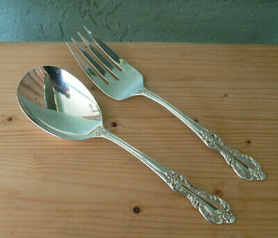 Antique Silver Wm Rogers Mfg Co. LARGE Serving Spoon & Fork Set Xtra Plate-Mint!