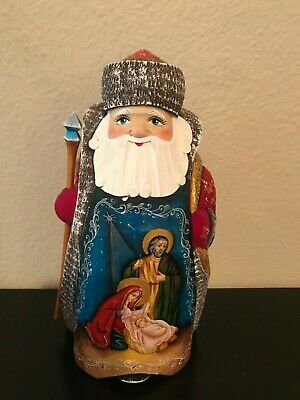 "Russian Hand Carved Santa  "" Nativity ""Beautiful Piece Signed Christmas Gift"