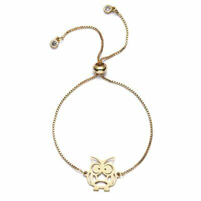 Fashion Gold Stainless Steel Hollow Owl Animal Bangle Adjustable Chain Bracelet