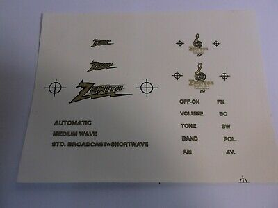 A3      Zenith & Emerson Radio Decals water soluble