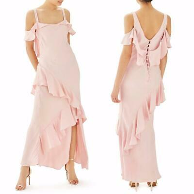Dusty Blush Pink Embroidered Flounce Romantic Strappy Long Maxi 285 mv Dress M L