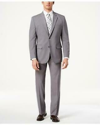 $395 Nautica Men's Modern Fit Active Stretch Gray Solid 2 PC Suit 38R 32W zjn13