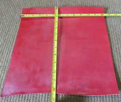 "RED BRIDLE FINISH LEATHER OFF CUT 12"" X 12"" (30 X 30 cm)  2mm THICK  CLEARANCE"