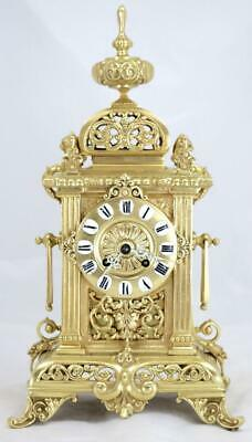 Antique French Mantle Clock Rare Bronze Cubed Shape 8Day 1880's Bell Striking