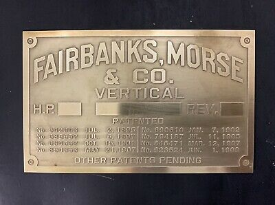 New Fairbanks Morse Vertical brass data tag Antique Gas Engine Hit Miss