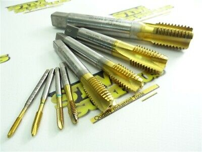 """Lot Of 8 Assorted Hsse + Tin Coated Taps M4 To 1""""-8Nc Emuge Guhring & Greenfield"""