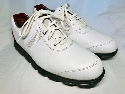 bd113f18e30d Footjoy Dryjoys Tour FJ Spikeless Golf Shoes Mens Size 9.5 White Burgundy  EUC