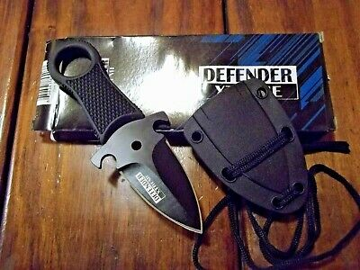 Neck Boot Knife Full Tang Tactical Survival with Sheath Black Defender-Xtreme