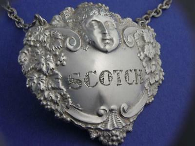 English Sterling Silver Liquor Tag Label Turner & Simpson SCOTCH Bacchus Grapes