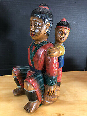 """Vtg Thailand hand carved wood Father & Son Figure Man Boy 10.5"""" Tall"""
