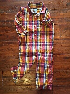 BABY GAP Boys Plaid Romper Outfit Size18-24 Months Fall