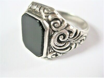 Antique Seal Ring Silver 835 with Onyx 7,88 G