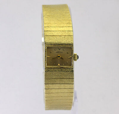 Vintage Angelus ladies solid 14K yellow gold bracelet watch mechanical 34 grams