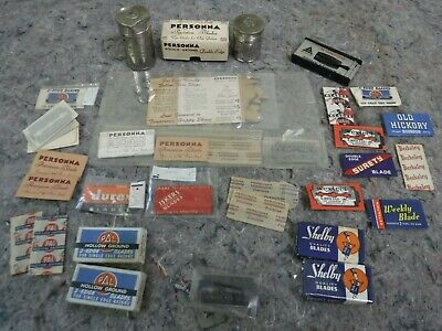 Large Lot of Vintage Razor Blades-Single & Double Edge-NOS-Colgate Shaving Stick