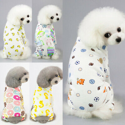 Embroidery Cat Dog Pajamas Cotton Small Pet Clothes Apparel Jumpsuit S-XXL