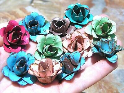 10 metal flowers for embellishments and accents, iron art roses