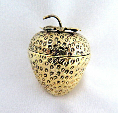 Antique Tiffany Sterling Silver & Gilt Vermeil Strawberry Pill Trinket Box