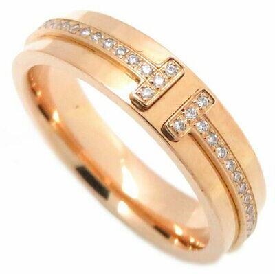 Authentic TIFFANY & CO. 18K Pink Gold T TWO Narrow Diamond Ring #5.5 /091425
