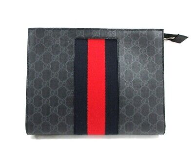 3ccead68f GUCCI ANIMALIER CLUTCH bag leather black Bee Embroidery - $704.00 ...