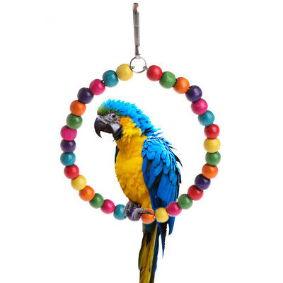 KQ_ Colorful Beads Circle Parrot Climbing Swing Ring Bird Pet Toy Cage Decor