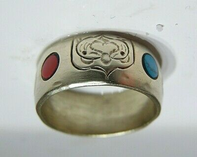 Ancient BUDDHIST ? Antique 10 K SOLID GOLD ring w patterns + stones 9 grams