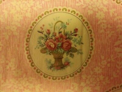 """PINK MEDALIONS OF ROSES AND BASKETS on cream Robyn Pandolph """"Forever Yours"""""""