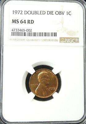 1972 Doubled Die Obverse Lincoln Memorial Cent Ngc Ms 64 Red Major Mint Error