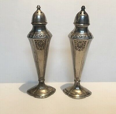 W. B. Mfg. Co. Set of Vintage Silver Plated Salt and Pepper Shakers