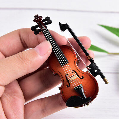 Mini Violin Miniature Musical Instrument Wooden Model with Support and Cas TSAU