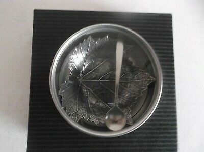 New In Box - Pewter Salt Cellar - With Spoon - Made In Usa