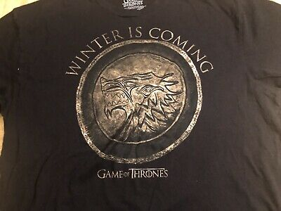 Game Of Thrones STARK SEAL WINTER IS COMING CIRCLE T-Shirt XL Licensed-Official