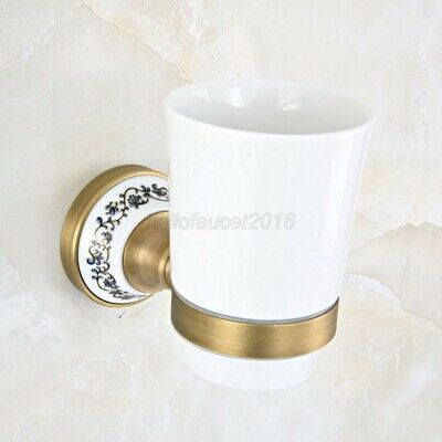 Antique Brass Wall Mounted Bathroom Toothbrush Holders Single Ceramic Cup