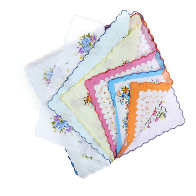 10pcs Vintage Pretty Floral Flowers Handkerchief Lady Women Kids Cotton Hanky TS