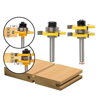 """2PCS Tongue and Groove Router Bit Set 1/2""""x1/4"""" Shank T-type 3-tooth Cutter co"""