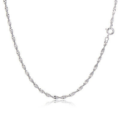 1X Stylish Gold Filled/Silver P Water Wave Twist Thin Chain Necklace Wholesale