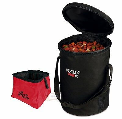 Dog Bowl Black Travel Food Bag with Pop up Bowl for food or water