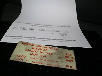 ORIGINAL WOODSTOCK TICKET August 16, 1969 Saturday (2nd day) Peace Love  A56