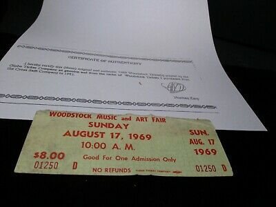 ORIGINAL WOODSTOCK TICKET August 17, 1969 Sunday 3rd day Peace Love  Music A60