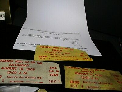 1969 ORIGINAL WOODSTOCK TICKET Lot of 3  Friday  Saturday Sunday PEACE LOVE  A64